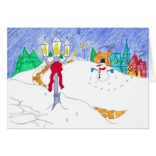 snowman village card