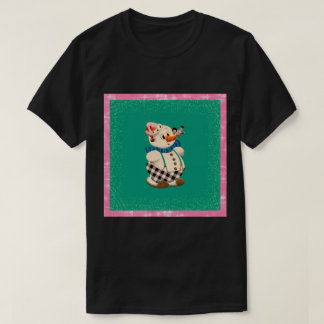 Snowman Vintage Christmas on black T-Shirt