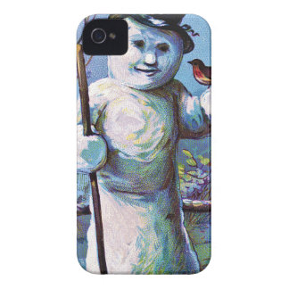 Snowman - vintage-santa-christmas-post-cards-0063 iPhone 4 case