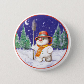 *Snowman walking in the night* 6 Cm Round Badge