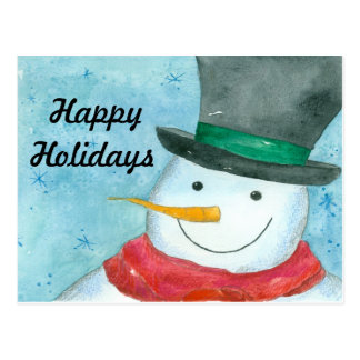 Snowman Watercolor Art Happy Holidays Postcard