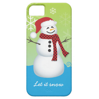 Snowman wearing Santa hat iPhone 5 Case