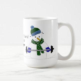 Snowman Weight Lifting Basic White Mug