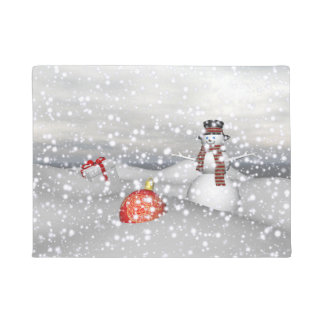 snowman white and gift doormat