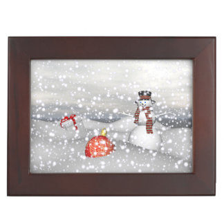 snowman white and gift keepsake box