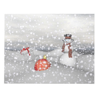 snowman white and gift notepad