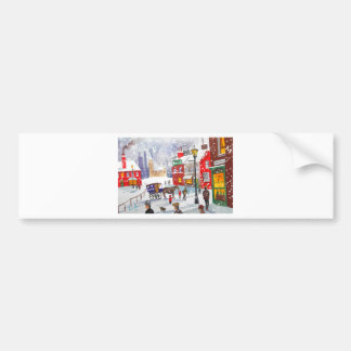 Snowman winter scene folk art painting nostalgic bumper sticker
