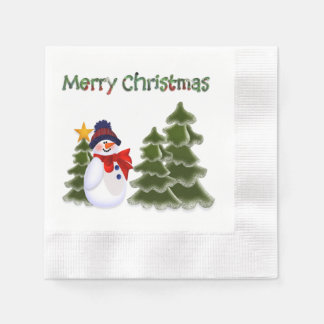 Snowman Winter Scene Napkins Paper Napkins