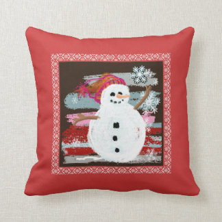 Snowman winter scene throw pillow
