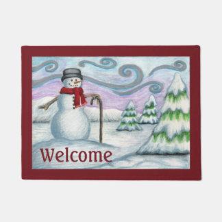 Snowman Winter Scene Welcome Doormat