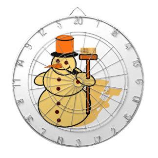 Snowman with a broom cartoon dartboard