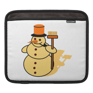 Snowman with a broom cartoon iPad sleeve