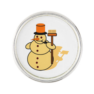 Snowman with a broom cartoon lapel pin