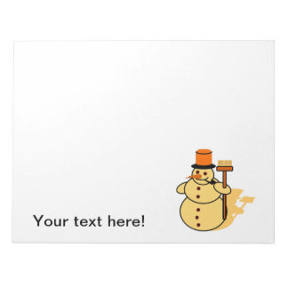 Snowman with a broom cartoon notepad