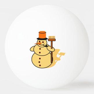 Snowman with a broom cartoon ping pong ball