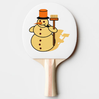 Snowman with a broom cartoon ping pong paddle