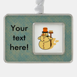 Snowman with a broom cartoon silver plated framed ornament