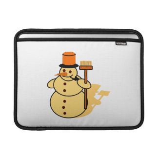 Snowman with a broom cartoon sleeve for MacBook air