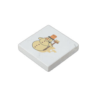 Snowman with a broom cartoon stone magnet