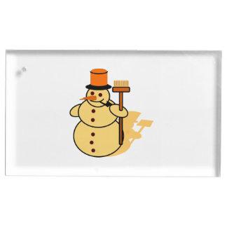 Snowman with a broom cartoon table card holder