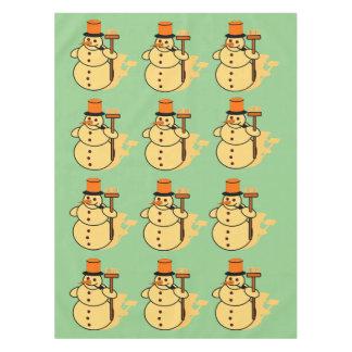Snowman with a broom cartoon tablecloth