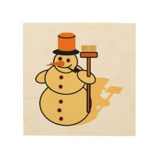 Snowman with a broom cartoon wood print
