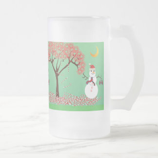 Snowman with a Candycane Tree - mug