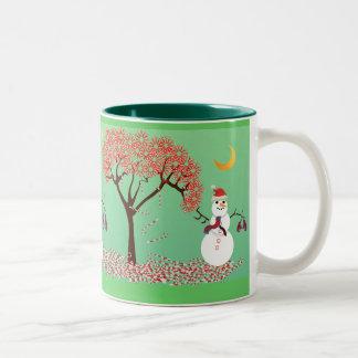 Snowman with a Candycane Tree Two-Tone Mug