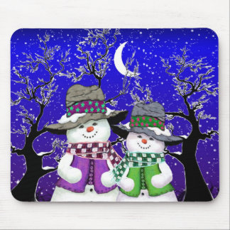 Snowman with a Friend Mousepad
