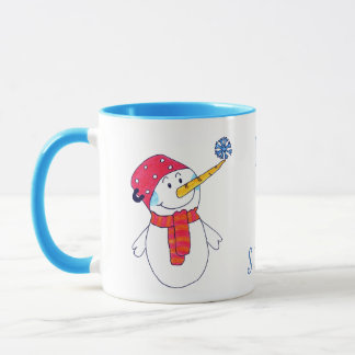 Snowman with a Snowflake Let it snow Blue Mug