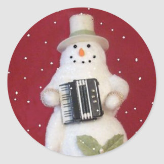 SNOWMAN WITH ACCORDION CLASSIC ROUND STICKER