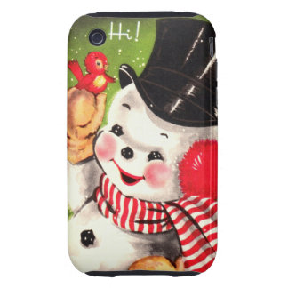 Snowman with Bird Tough iPhone 3 Cover