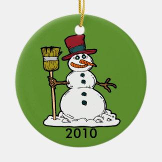 Snowman with broom christmas tree ornament