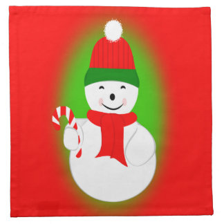 Snowman with Candy Cane Napkin