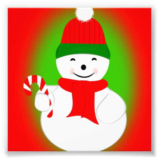 Snowman with Candy Cane Photo Print