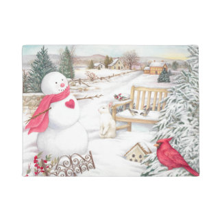 Snowman with Cardinal & Snow Bunny in Garden Doormat