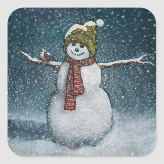 Snowman With Chickadee: Winter Scene Square Sticker