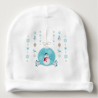 Snowman with Christmas Hanging Decorations Baby Beanie