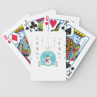 Snowman with Christmas Hanging Decorations Bicycle Playing Cards
