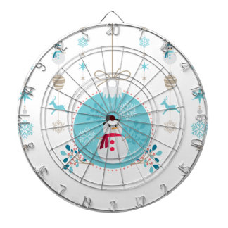 Snowman with Christmas Hanging Decorations Dartboard