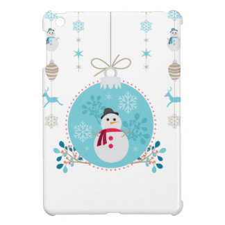 Snowman with Christmas Hanging Decorations iPad Mini Case