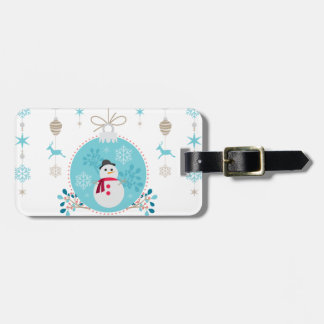 Snowman with Christmas Hanging Decorations Luggage Tag