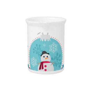 Snowman with Christmas Hanging Decorations Pitcher