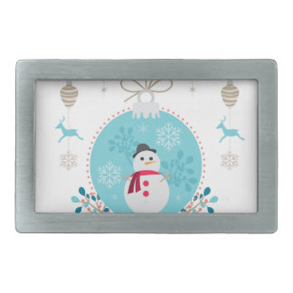 Snowman with Christmas Hanging Decorations Rectangular Belt Buckles