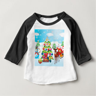 Snowman with Christmas Tree2 Baby T-Shirt