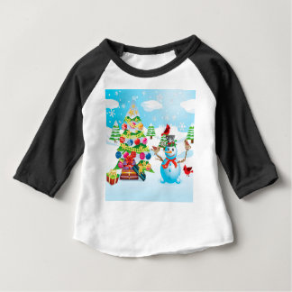 Snowman with Christmas Tree Baby T-Shirt