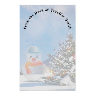 Snowman with Christmas Tree Stationery