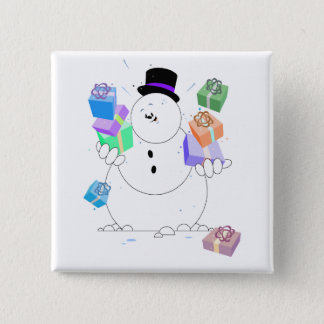 Snowman With Gifts 15 Cm Square Badge