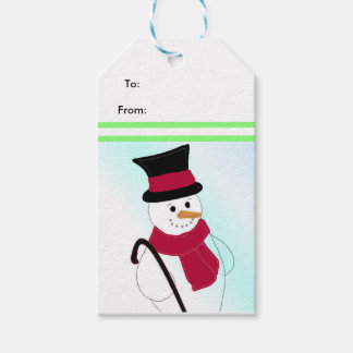 Snowman with Hat and Cane Gift Tags