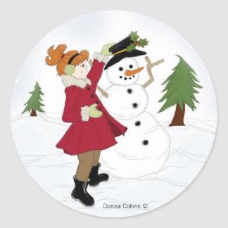 Snowman  with little girl classic round sticker